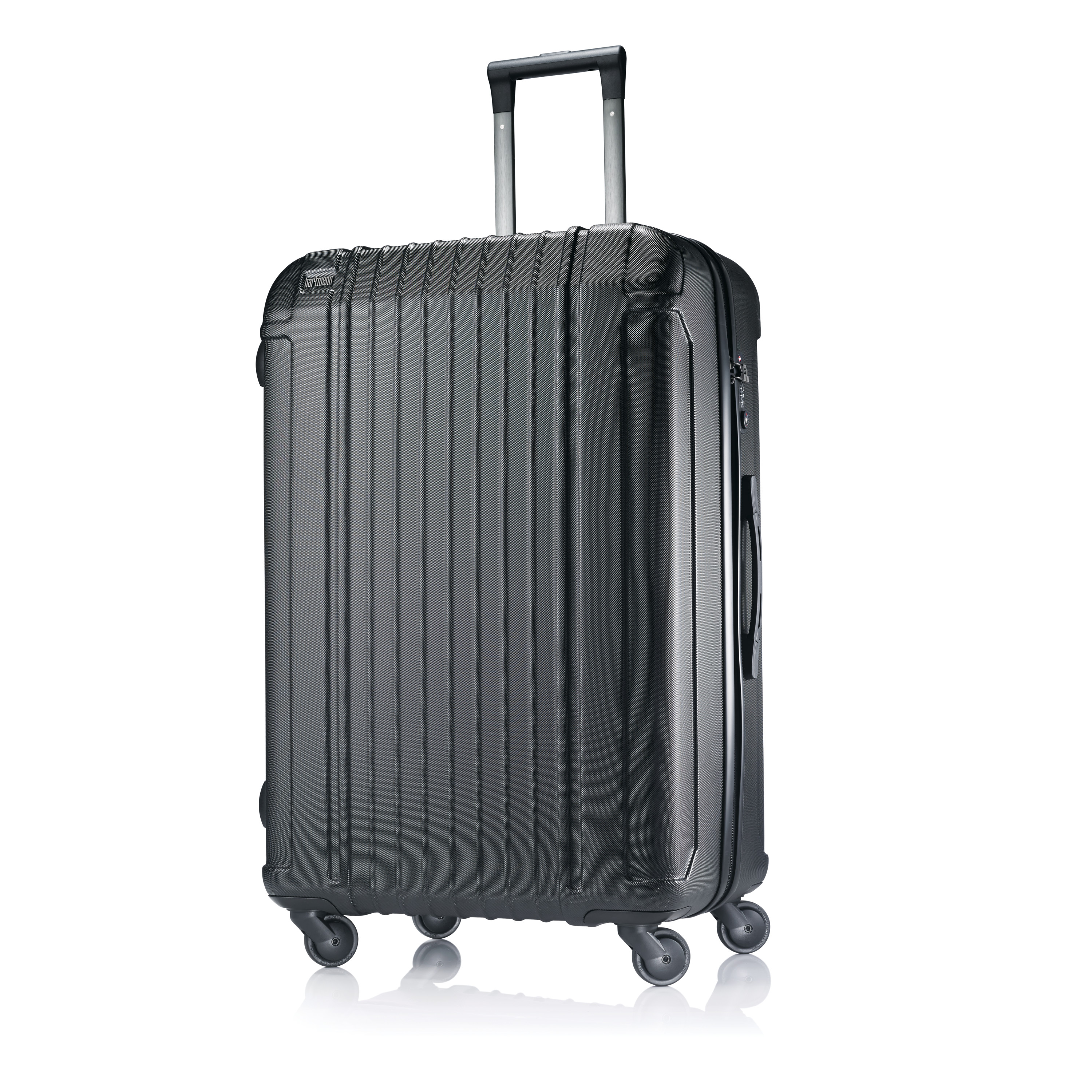 Hartmann Vigor Extended Journey Spinner Luggage Black Vigor's extended journey spinner is designed for the overpacker's longer getaways, and with Vigor's suite of thoughtful features, makes every travel experience enjoyable. 100% Polycarbonate. Iconic Hartmann figure-8 leather handle. Smooth gliding spinner wheels for enhanced mobility. Telescoping handle. Lightweight polyester jacquard lining. Compression straps. Organization compartments. Side zippered inside pockets. Weight: 10.0 lbs. Body Dimensions: 29.0  x 19.5  x 12.0