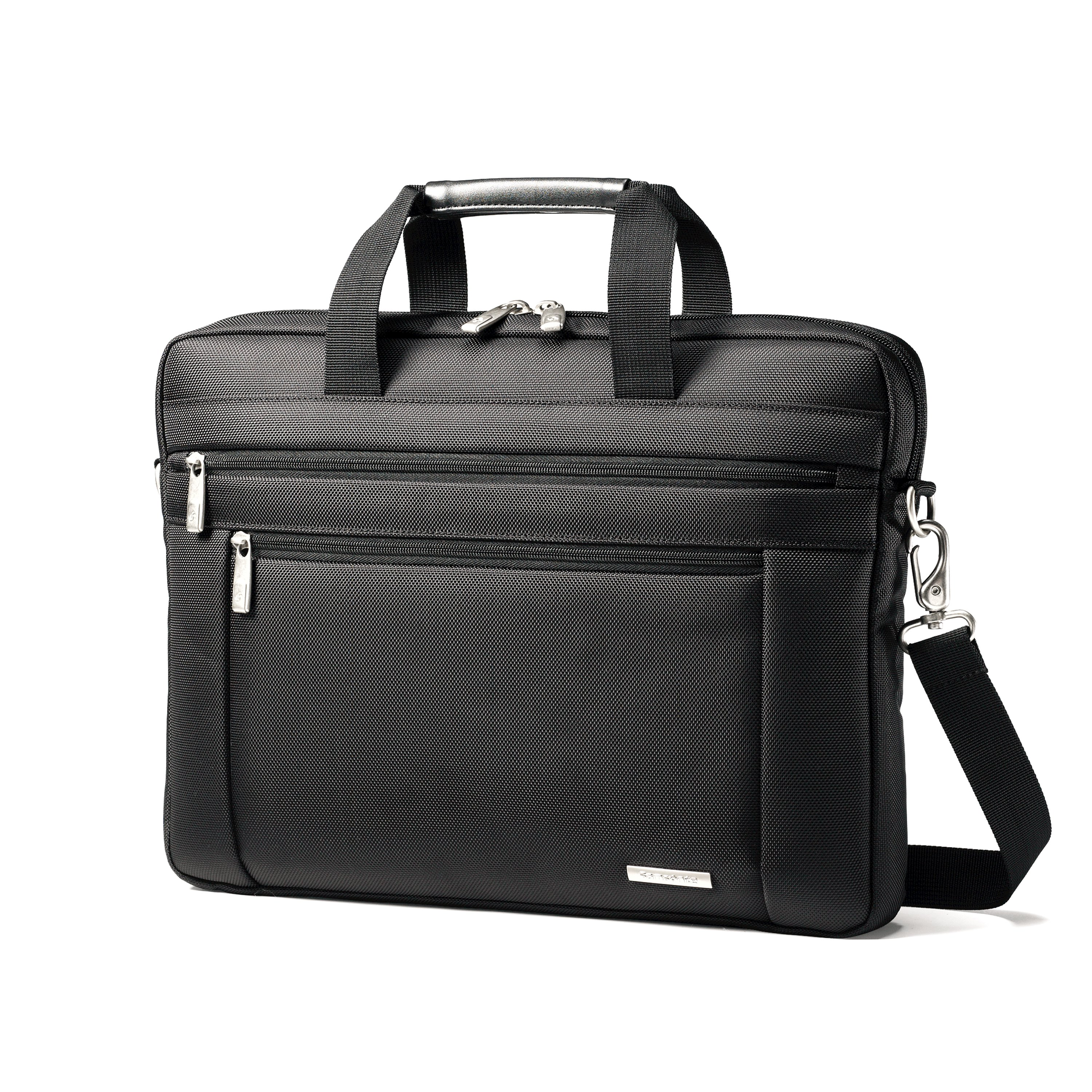 Constructed of rugged 1680 Ballistic fabric for durability Wrapped bale handles for comfort Easy access quick stash front pocket Padded laptop compartment Holds up to a 15.6  laptop. 3 Year Warranty. Weight: 1.5 lbs. Body Dimensions: 16.0  x 12.0  x 2.0