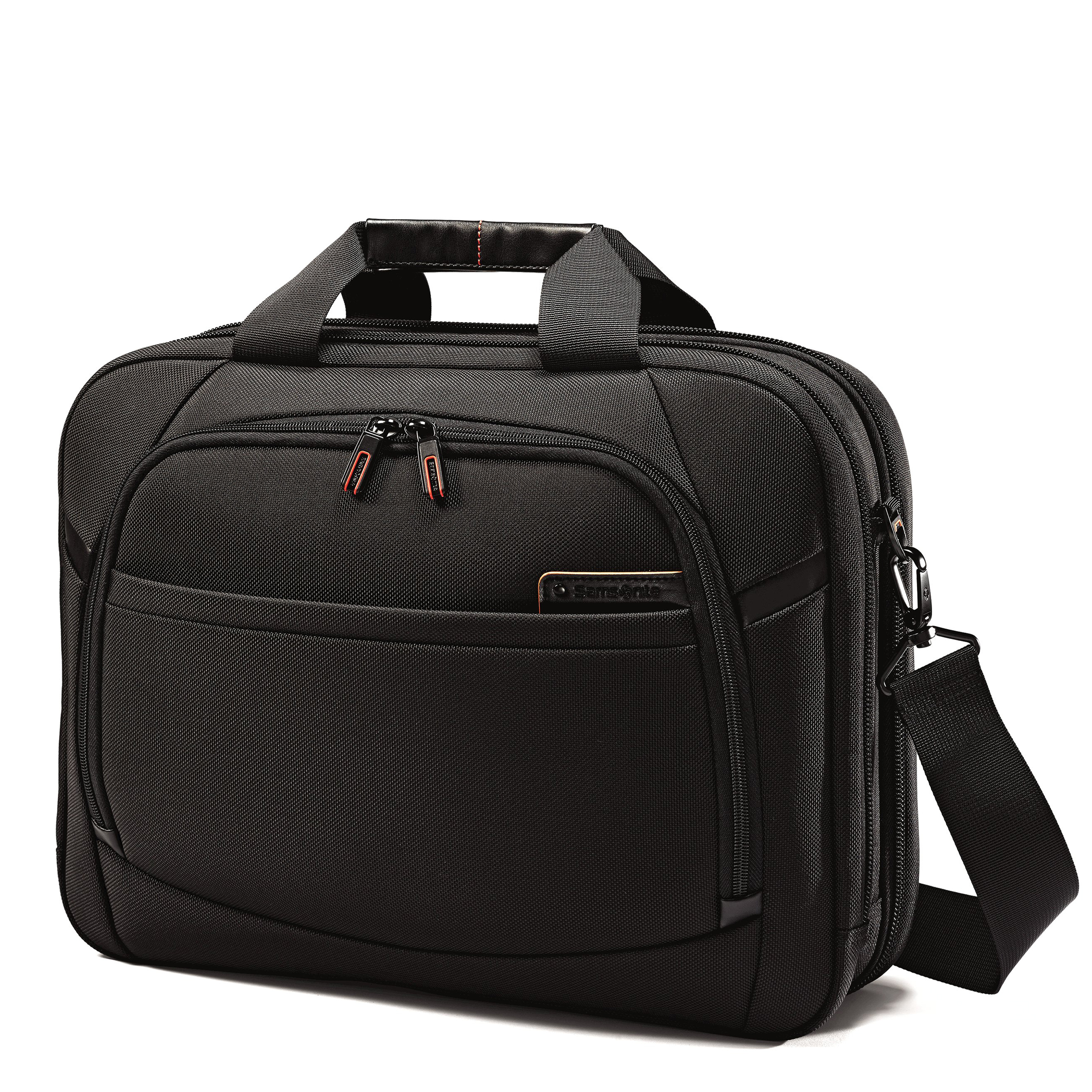 "Fits 13""-15.6"" laptops. Leather touch points. Poron® shock absorbers. Perfect Fit adjustable laptop system. Tablet/iPad® pocket. TSA Checkpoint friendly. Smart sleeve. Quick stash pocket. Cord/accessory pouch included. Weight: 3.2 lbs. Body Dimensions: 16.5"" x 12.75"" x 5.0"""