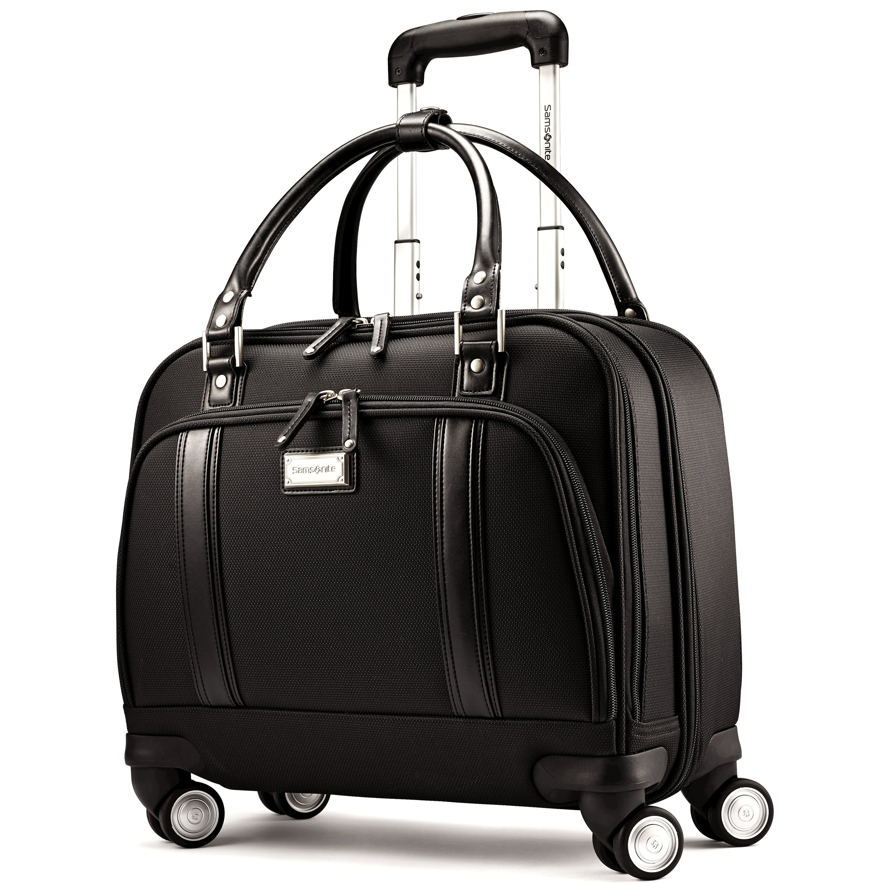 "A Stylish sophisticated way to transport all your business needs in an effortless fashion! Fits in under most airline seats and in most overhead bins.>br> Features a stylish interior with functional organization. Middle gusset has a padded compartment which accommodates up to a 15.6"" laptop and padded accessory padded. Back compartment has ample room for files. Front pocket features an iPad/tablet pocket with organizational features. 4 Multi directional spinner wheels. Retractable push button handle. Weight: 8.84 lbs. Body Dimensions: 16.5"" x 13.5"" x 8.0""Overall Dimensions: 16.5"" x 15.75"" x 8.5"""