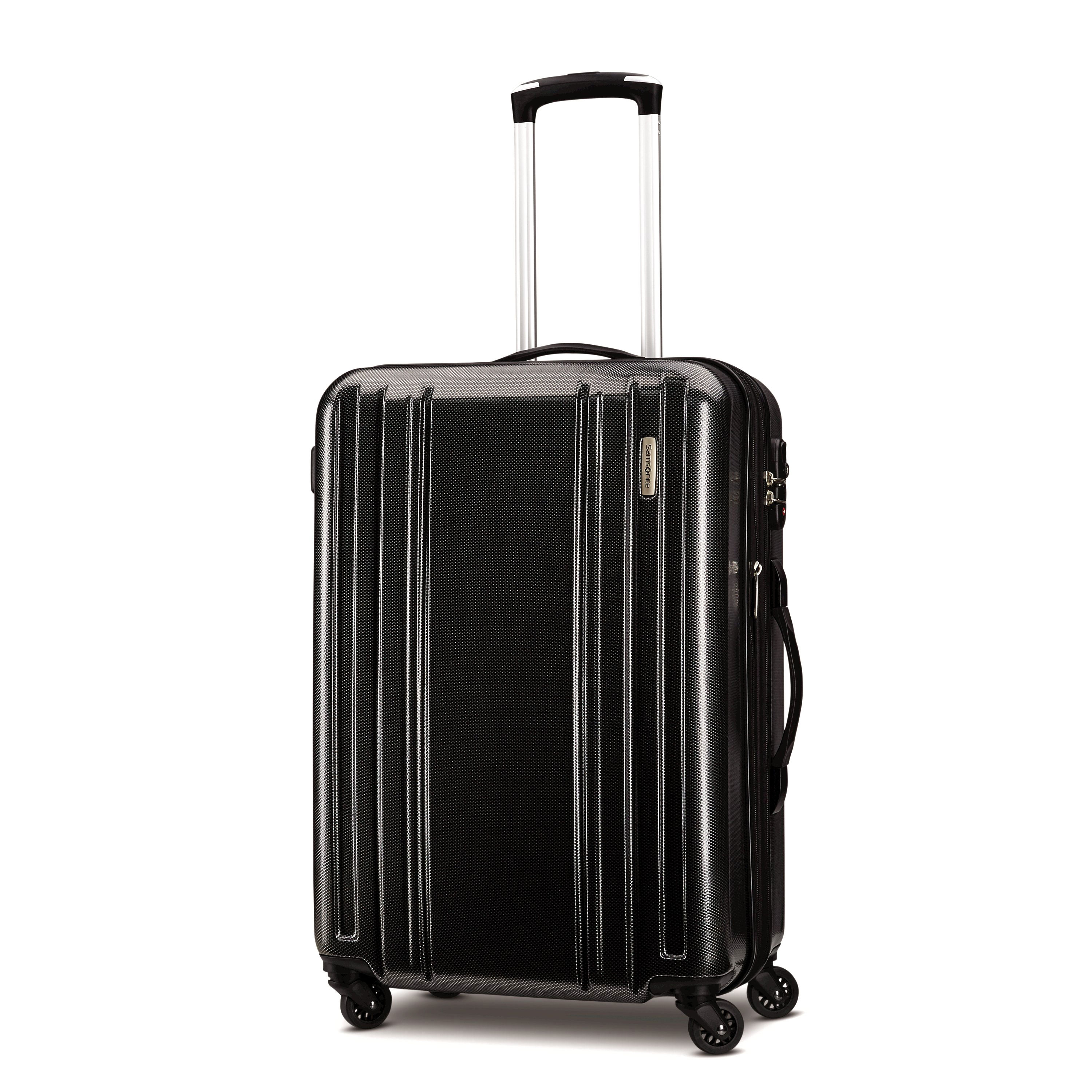 "Keep your travel essentials stylishly stowed in the Samsonite Carbon 2 spinners. This ABS/polycarbonate hardside collection features a textured shell to discourage scratches and scuffs and was designed to absorb impact when under stress, then pop back to its original shape, eliminating dents and dings. Each has a spacious, zippered main compartment with elastic cross-straps for holding contents in place, plus a zippered lid compartment for keeping accessories and toiletries separate. Each case comes with a Mounted Travel Sentry combination lock. Four multi-directional spinner wheels for smooth, upright, 360 degree rolling. Weight: 8.15 lbs. Body Dimensions: 24.0"" x 17.0"" x 11.0""Overall Dimensions: 26.0"" x 18.0"" x 11.0"""