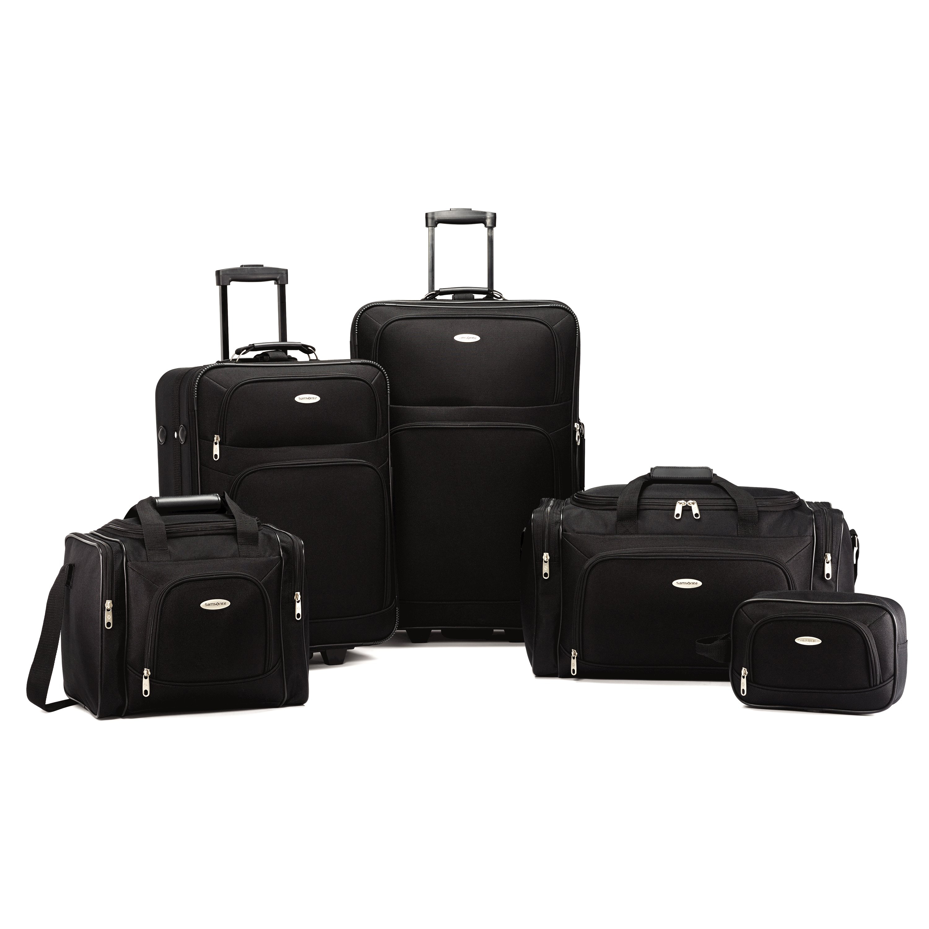 "5 pc set includes 21"" Upright (21"" x 16"" x 9"" - 7.18 lbs), 26"" Upright (26"" x 18"" x 10"" - 9.10 lbs), 23"" Duffel (22.5"" x 12"" x 12"" - 2.46 lbs.), Boarding Bag (15"" x 11.5"" x 10.5"" - 1.76 lbs.) and Toiletry kit (10.5"" x 7"" x 4.5"" - .5 lbs.). Made with 1200D rugged polyester. Padded, carry handles provide comfort when lifting a fully packed case. Large, self-mending coil zippers provide flawless closure allow you to add a lock to protect your valuables. br>&#149' Uprights have inline-skate wheels and push button locking handle. Both the 21"" and 26"" feature an add a bag strap for easy travel. Both the boarding bag and the 23"" Duffel feature a smart sleeve that can be slid over the handle of an upright for easy transport. All pieces can be nested for easy storage when not in use. Weight: 21.0 lbs. Body Dimensions: 26.0"" x 18.0"" x 10.0""Overall Dimensions: 28.0"" x 18.0"" x 11.0"""